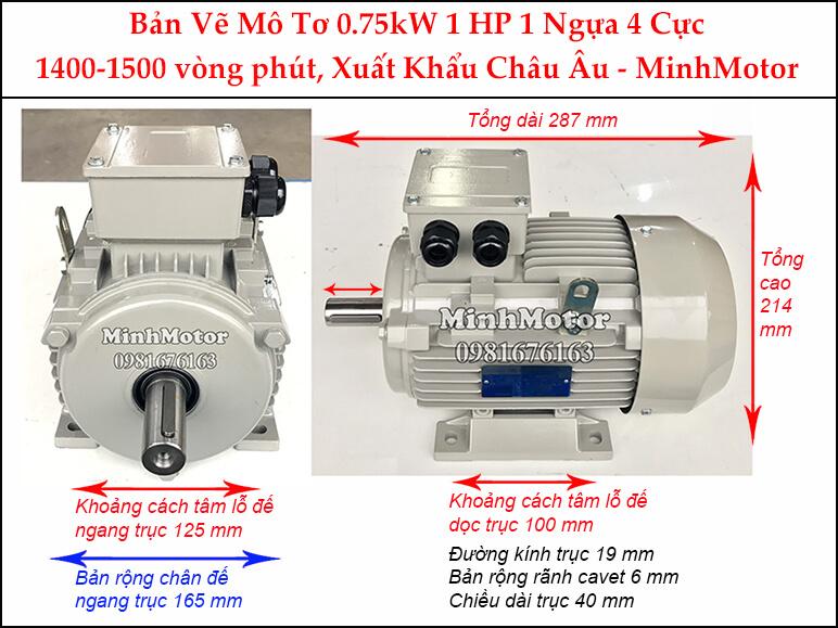 Motor điện 3 pha 0.75kw 1hp 4 cực Parma
