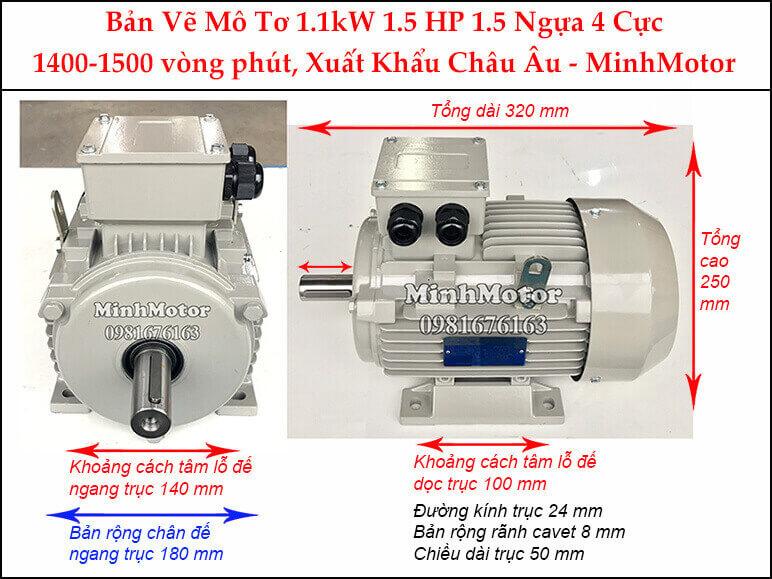 motor điện 3 pha 1.1kw 1.5hp 4 cực