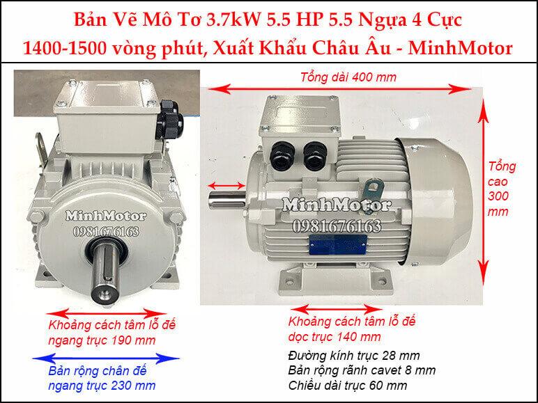 động cơ điện Parma Minhmotor 3.7kw 5hp 4 cực