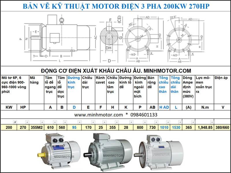 Bản vẽ kĩ thuật động cơ điện 270Hp 200Kw 6 cực điện