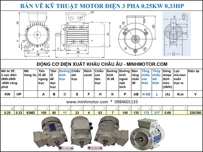 Bản vẽ cataloge Động Cơ Điện 3 Pha 0.33HP 0.25Kw 2 Cực