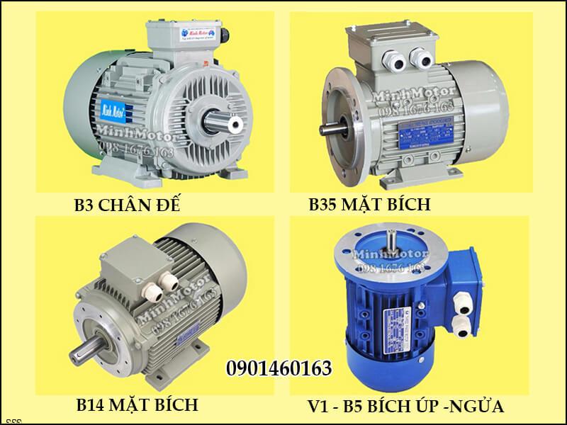 Động Cơ Điện 3 Pha 0.25HP 0.18Kw 4 Cực B3 chân đế, B35 mặt bích, B14 mặt bích, V1 - B5 bích úp - ngửa