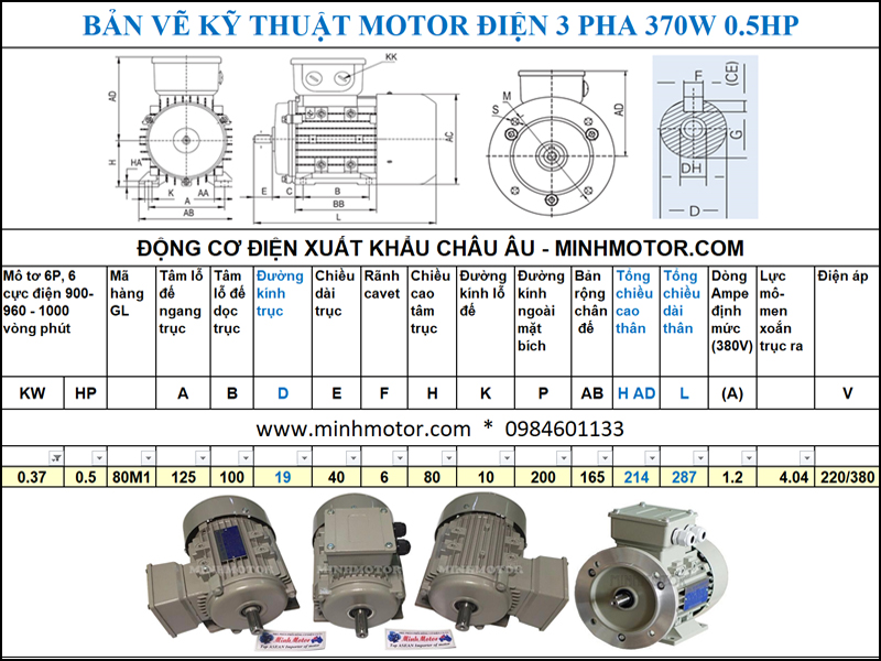 Bản vẽ cataloge Động Cơ Điện 3 Pha 0.5HP 0.37Kw 6 Cực