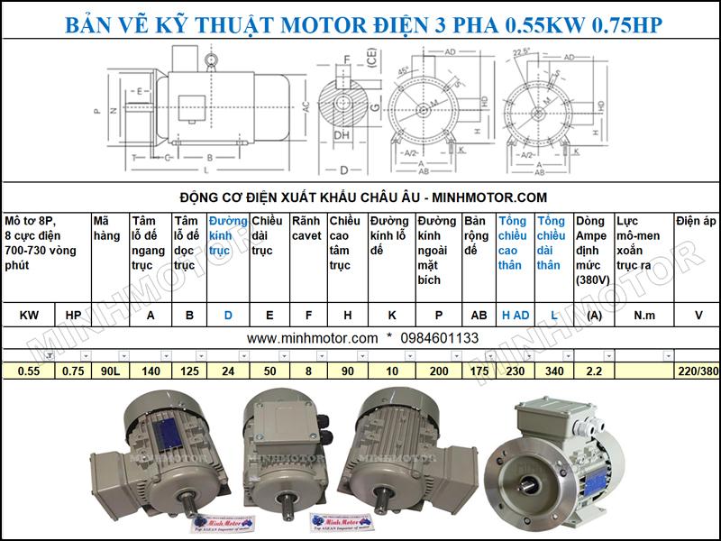 Bản vẽ cataloge Động Cơ Điện 3 Pha 0.75HP 0.55Kw 8 Cực