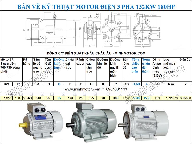 Bản vẽ Cataloge động cơ điện Động Cơ Điện 3 Pha 180HP 132Kw 8 Cực
