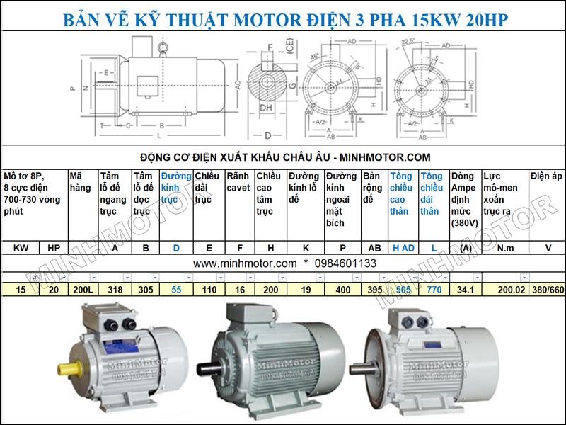 Bản vẽ cataloge Động Cơ Điện 3 Pha 20HP 15Kw 8 Cực