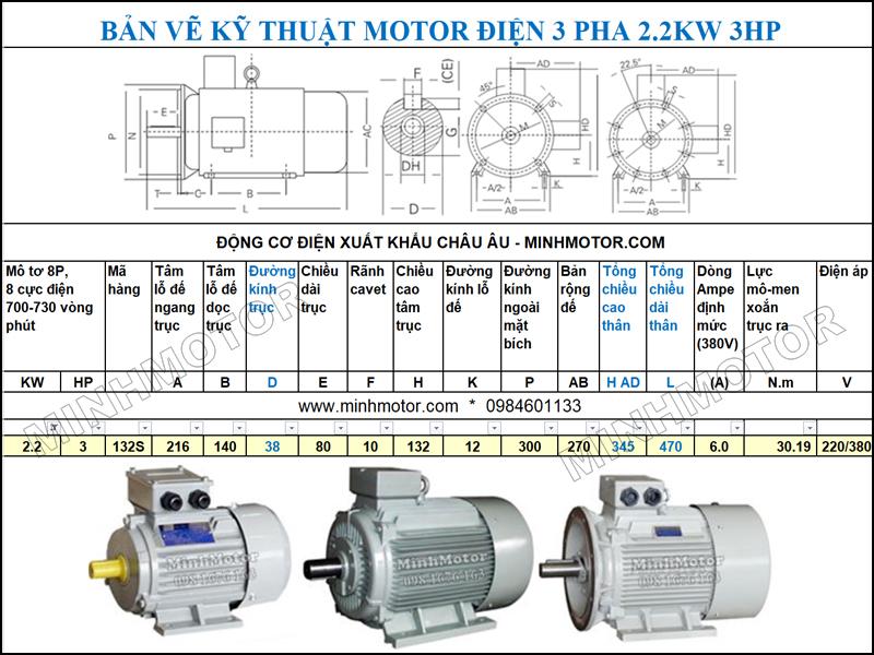 Bản vẽ cataloge Động Cơ Điện 3 Pha 3HP 2.2Kw 8 Cực