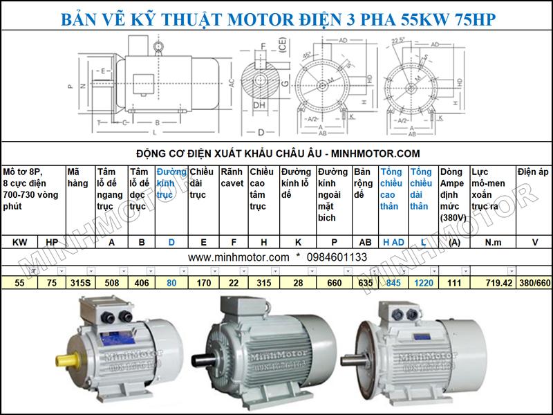 Bản vẽ cataloge Động Cơ Điện 3 Pha 75HP 55Kw 8 Cực
