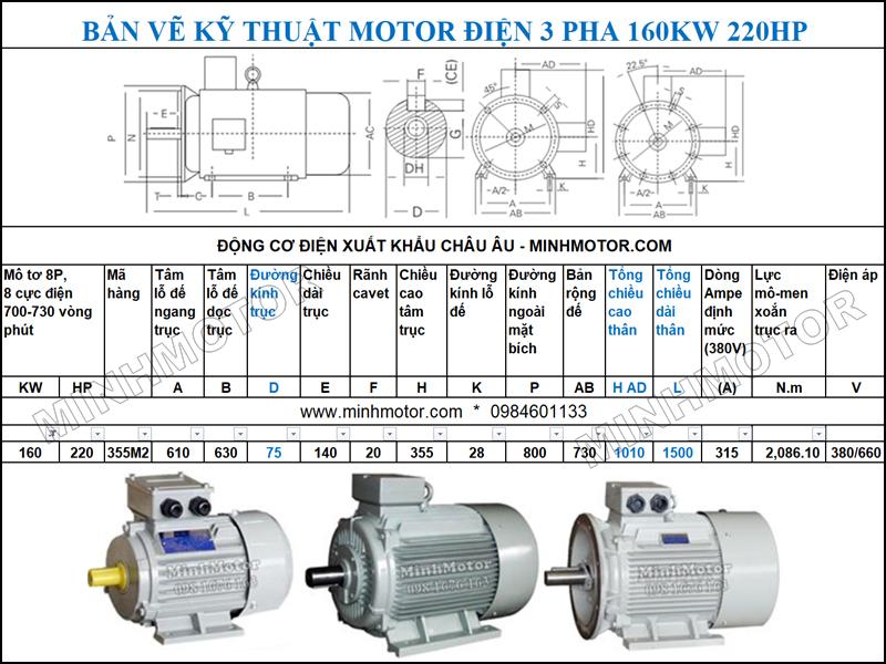 Bản vẽ Cataloge động cơ điện Động Cơ Điện 3 Pha 220HP 160Kw 8 Cực