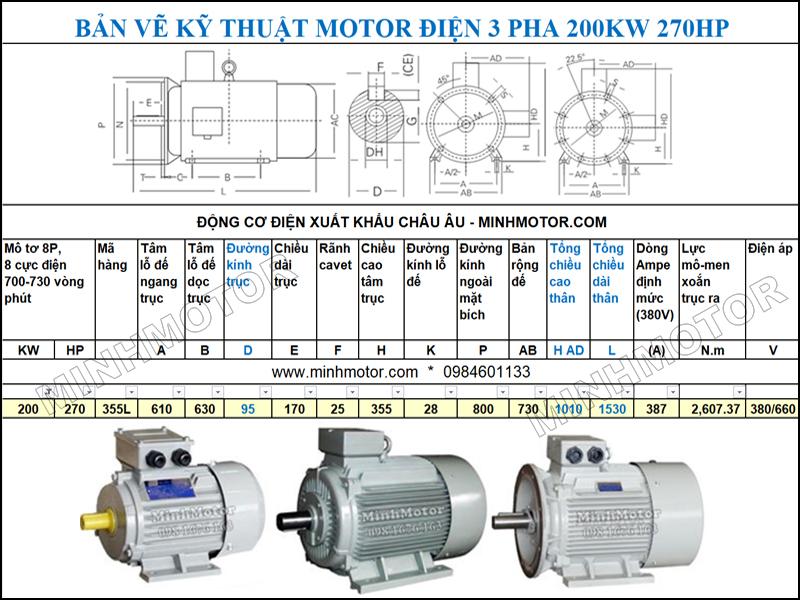Bản vẽ Cataloge động cơ điện Động Cơ Điện 3 Pha 270HP 200Kw 8 Cực