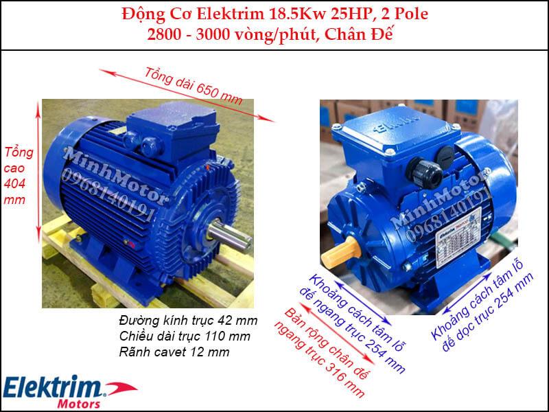 Motor Elektrim 18.5Kw 25Hp chân đế, 2 pole