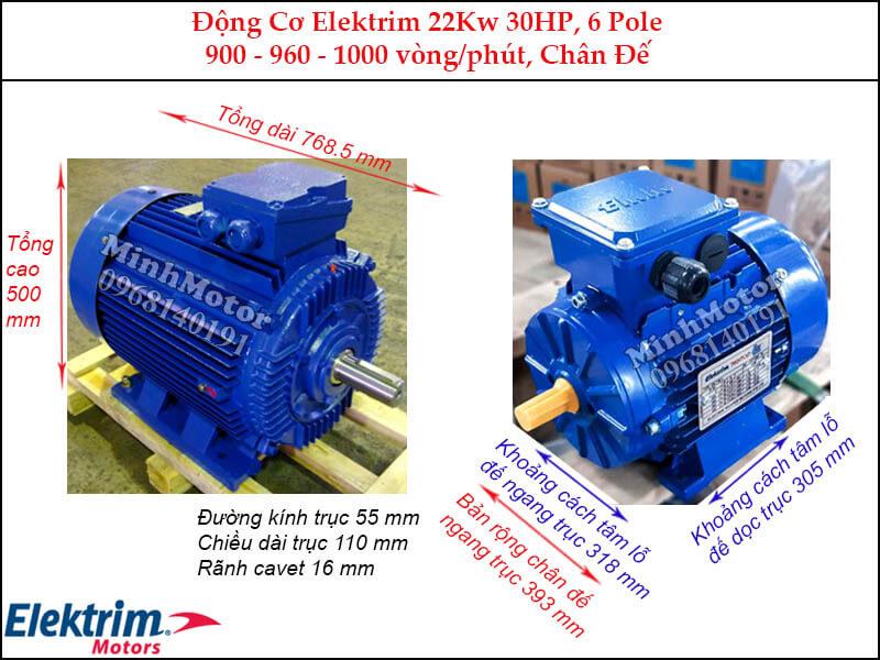 Motor Elektrim 22Kw 30Hp chân đế, 6 pole