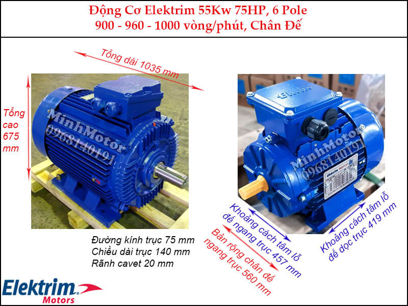 Motor Elektrim 55Kw 75Hp chân đế, 6 pole