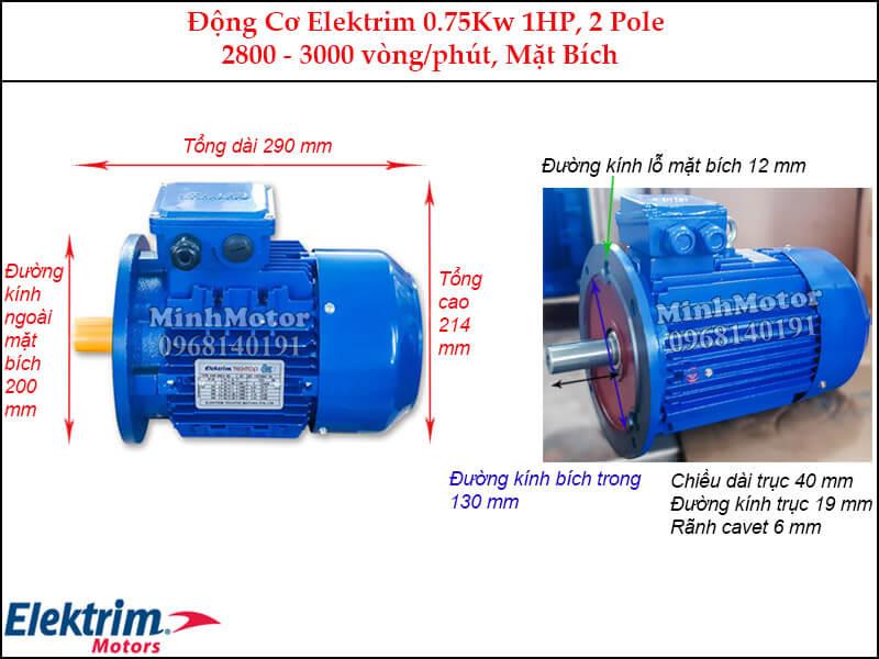 Elektrim 1Hp 0.75Kw mặt bích, 2 pole