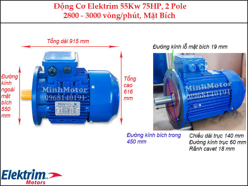 Motor Elektrim 55Kw 75Hp mặt bích, 2 pole
