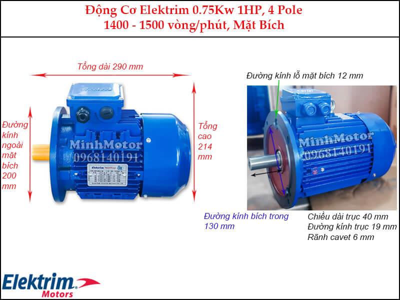 Elektrim 1Hp 0.75Kw mặt bích, 4 pole