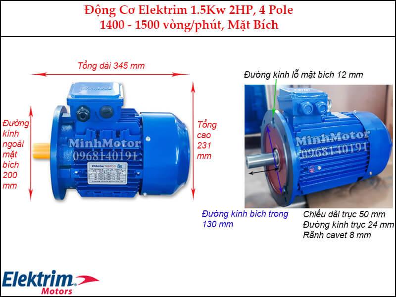 Elektrim 2Hp 1.5Kw mặt bích, 4 pole