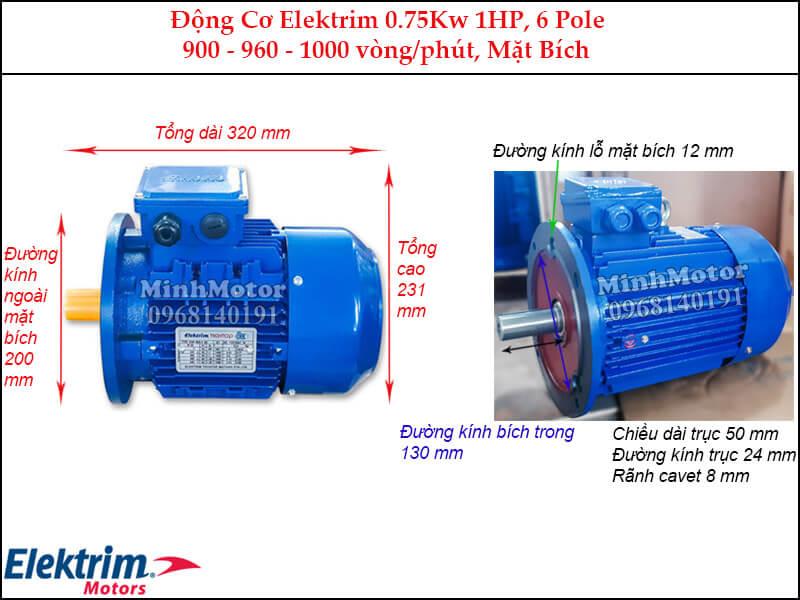 Elektrim 1Hp 0.75Kw mặt bích, 6 pole