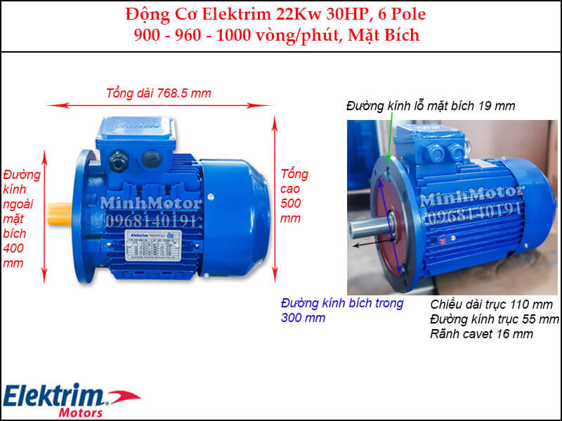 Motor Elektrim 22Kw 30Hp mặt bích, 6 pole
