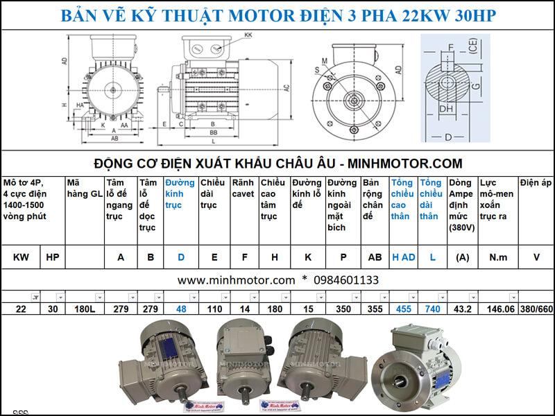 Thông số kỹ thuật Motor Julong 22kw 30Hp 30 ngựa 3 Pha 4P