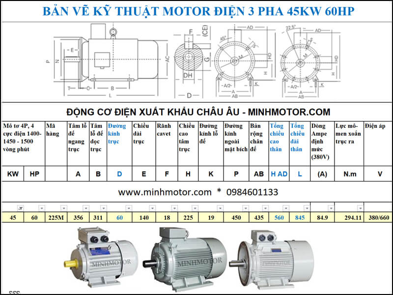 Thông số kỹ thuật Motor Julong 45kw 60Hp 60 ngựa 3 Pha 4P