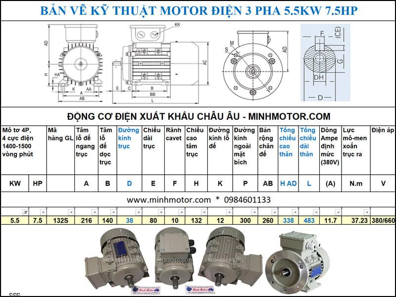 Bản vẽ kỹ thuật Motor Julong 5.5kw 7.5Hp 7.5 ngựa 3 Pha 4P