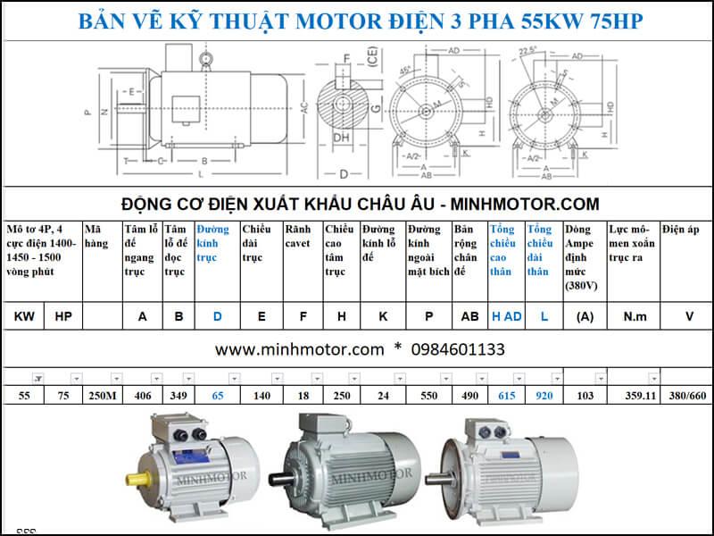 Thông số kỹ thuật Motor Julong 55kw 75Hp 75 ngựa 3 Pha 4P