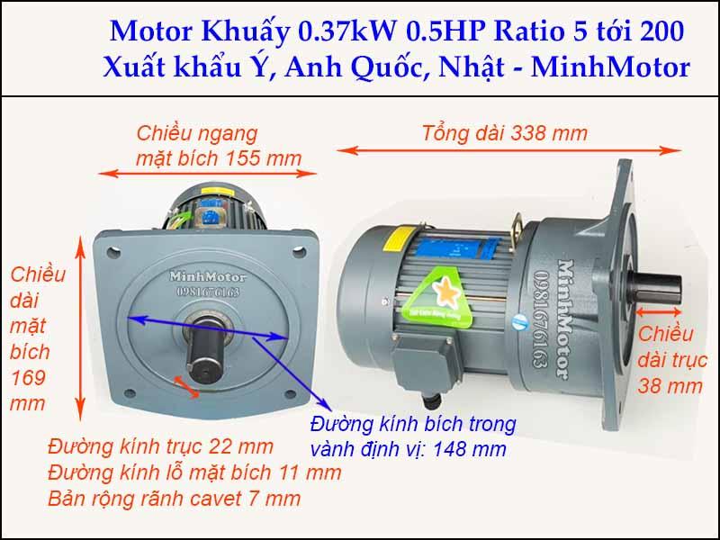 Động cơ khuấy 0.37kw 0.5hp 2 ngựa GV bích vuông