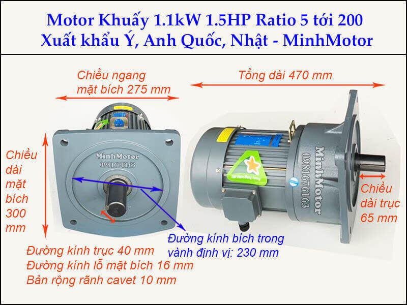 Động cơ khuấy 1.1kw 1.5hp GV bích vuông