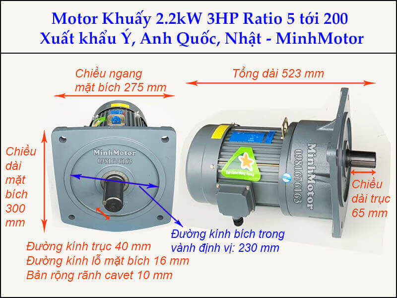Động cơ khuấy 2.2kw 3hp GV bích vuông
