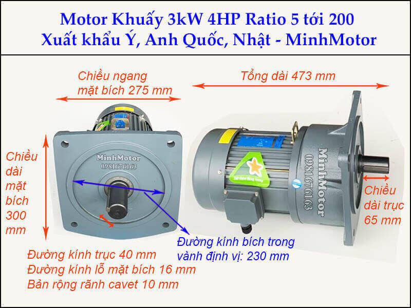 Động cơ khuấy 3kw 4hp GV bích vuông