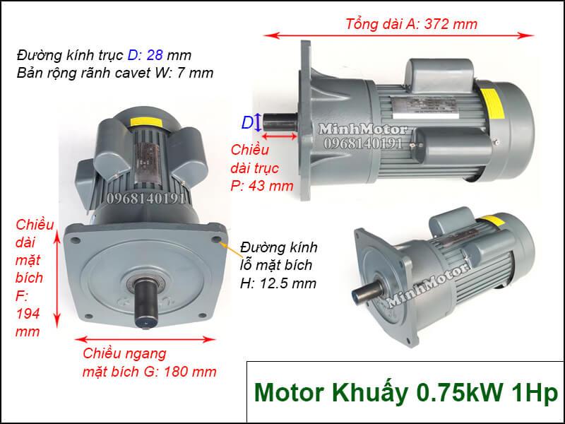 Motor khuấy 1 pha 220v 0.75kw 1HP
