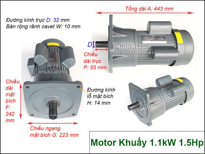 Motor khuấy 1 pha 220v 1.1kw 1.5hp