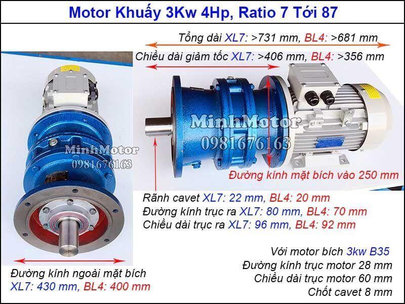 Motor khuấy 3kw 4hp mặt bích 3 pha 380v