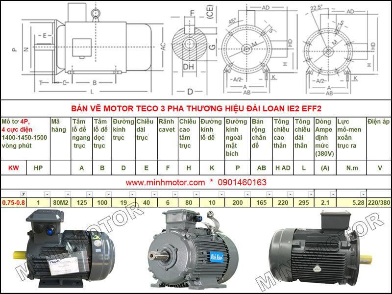 Bản vẽ kỹ thuật motor Teco 0.75kw 1HP 4 cực điện