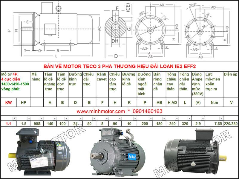 Bản vẽ kỹ thuật motor Teco 1.1kw 1.5HP 4 cực điện