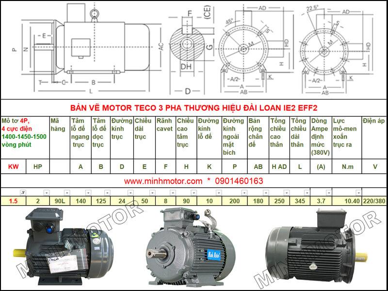 Bản vẽ kỹ thuật motor Teco 1.5kw 2HP 4 cực điện