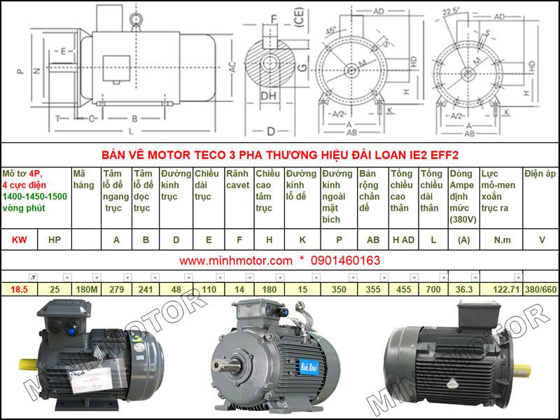 Bản vẽ kỹ thuật motor Teco 18.5kw 25HP 4 cực điện