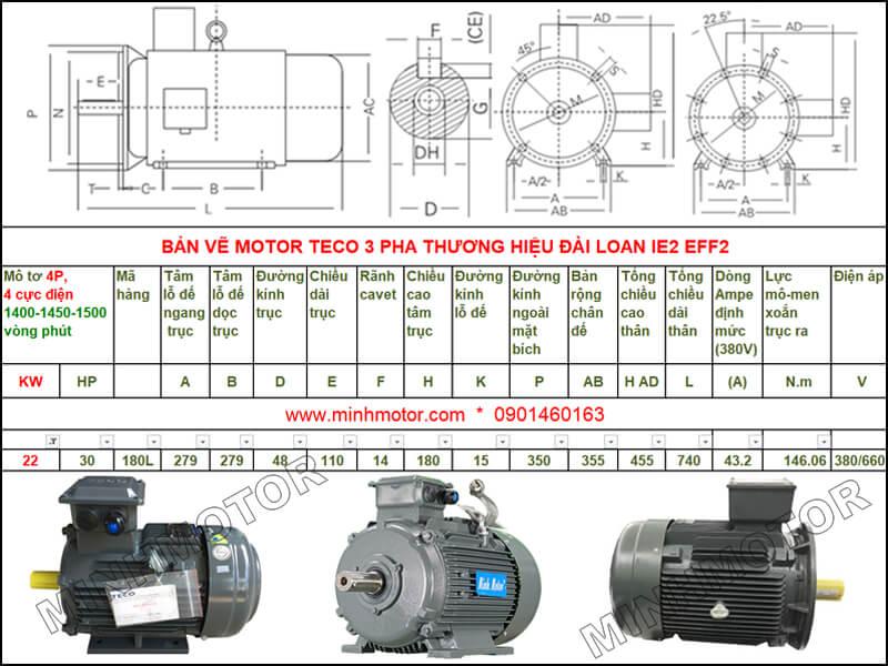 Bản vẽ kỹ thuật motor Teco 22kw 30HP 4 cực điện