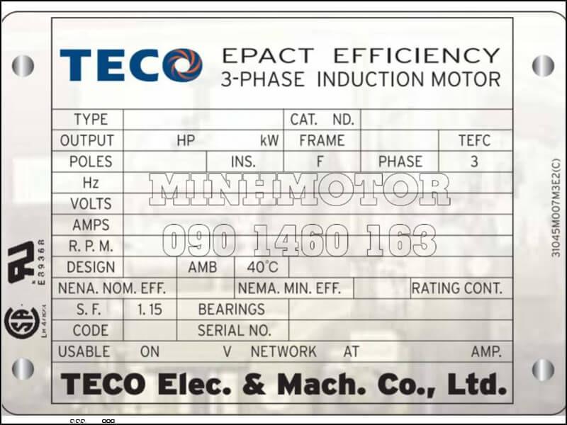 Cách đọc Tem Motor Teco chính hãng