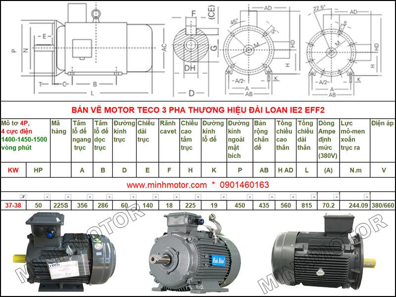 Bản vẽ kỹ thuật motor Teco 37kw 50HP 4 cực điện