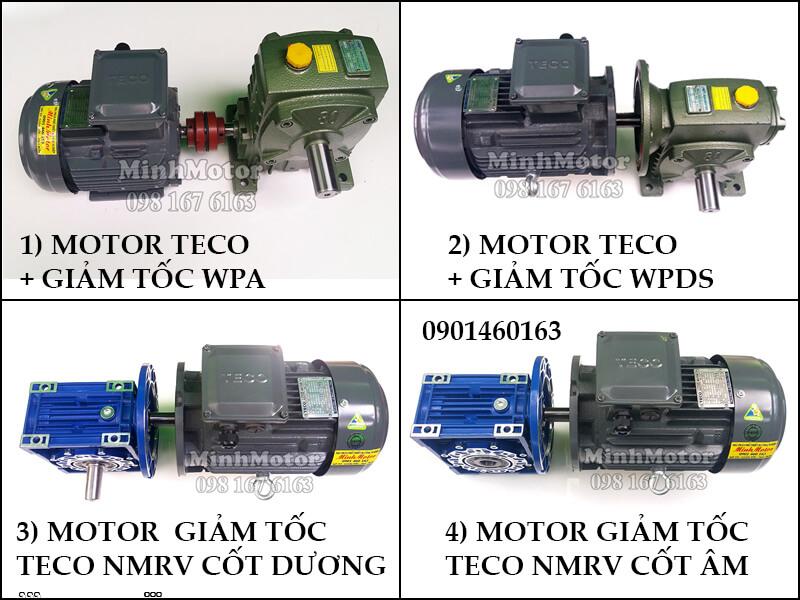 Động Cơ Giảm Tốc Teco 3kw 4HP Trục ra vuông góc
