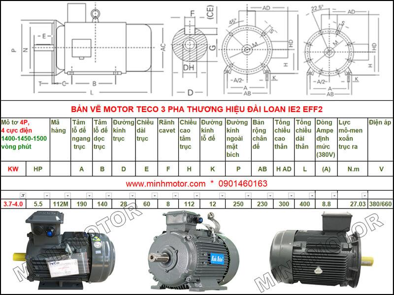 Bản vẽ kỹ thuật motor Teco 4kw 5.5HP 4 cực điện