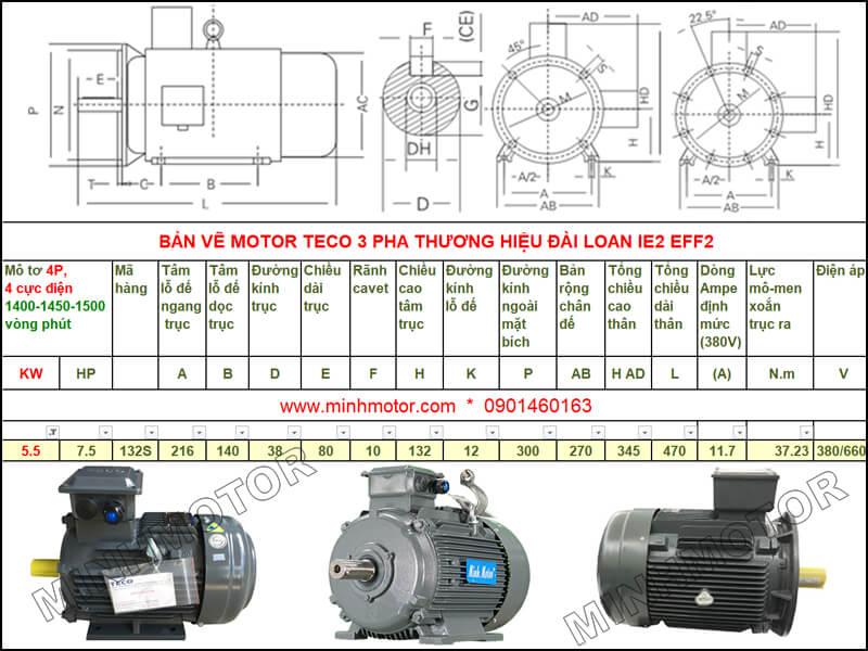 Bản vẽ kỹ thuật motor Teco 5.5kw 7.5HP 4 cực điện