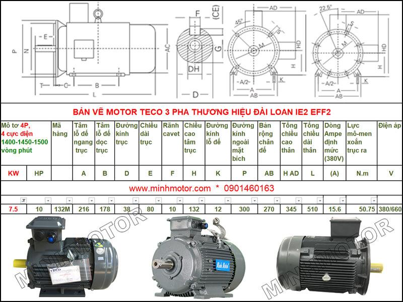 Bản vẽ kỹ thuật motor Teco 7.5kw 10HP 4 cực điện