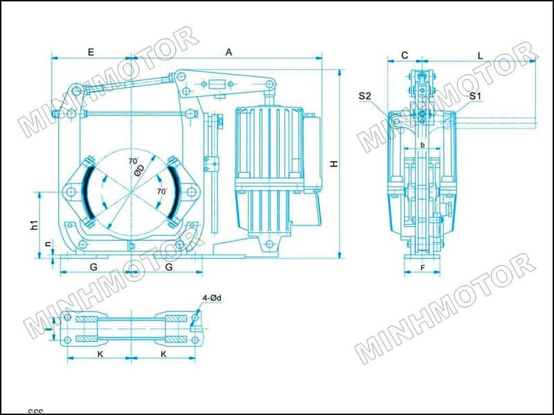 Bản vẽ hình học phanh thủy lực cầu trục 400 ED 121/6
