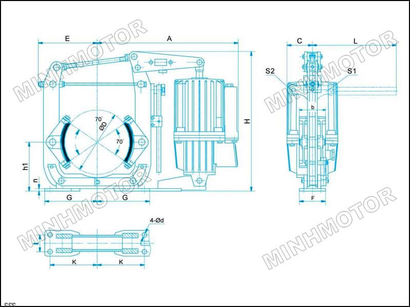 Bản vẽ kích thước Phanh thủy lực cầu trục thủy 300 ED 80/6