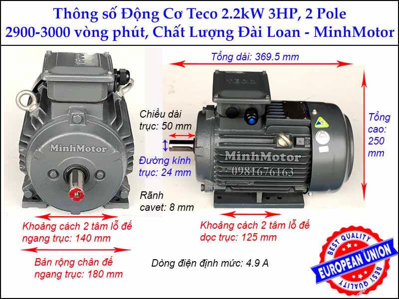 motor Teco 2.2kw 3HP 2 cực điện