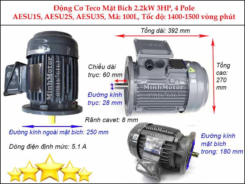 Bản vẽ kỹ thuật motor Teco 2.2kw 3HP 4 cực điện