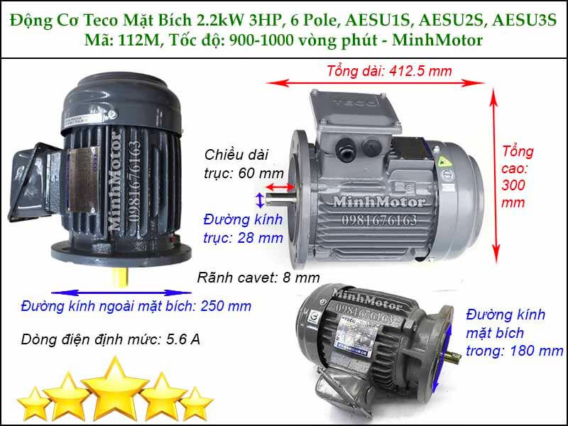 Thông số kích thước motor Teco 2.2kw 3HP 6 cực điện